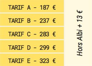 Les tarifs pour les activités à la MJC Albi Saison 2017 2018